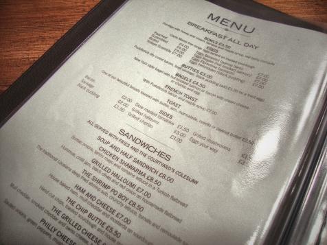 One page of the menu novella