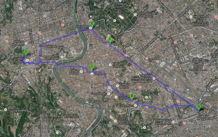 Our Rome travels [via Google Maps]