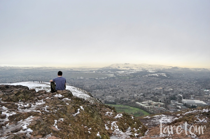 Enjoying the view from Arthur's Seat.