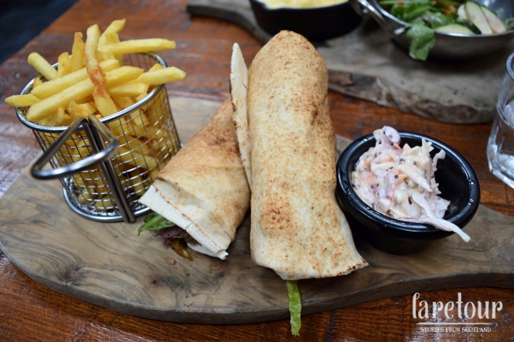 chicken shawarma wrap with slaw & fries