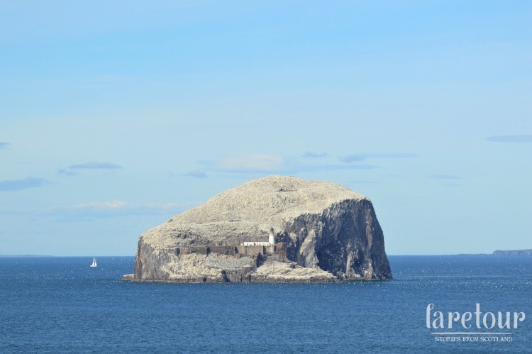 The view from Tantallon to Bass Rock