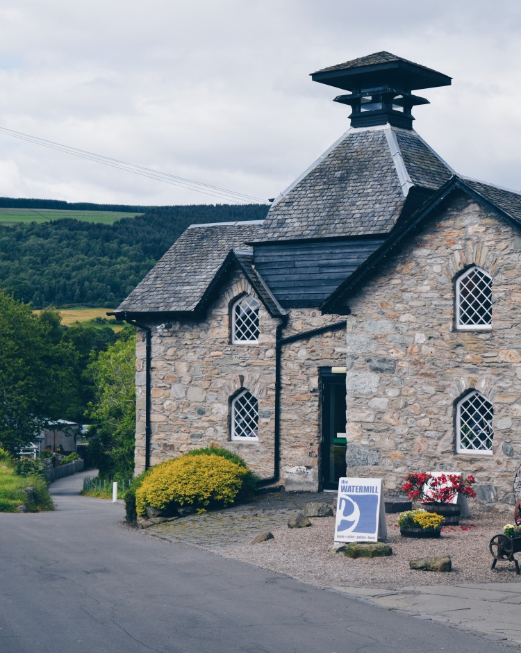The Watermill from outside, a bakery and bookshop in Aberfeldy