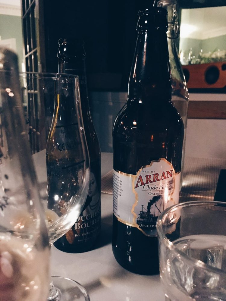 Enjoying Isle of Arran beers at Blackwaterfoot Lodge, Arran