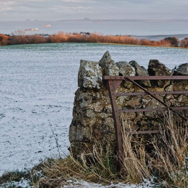 A stone wall with a fence and a panorama of the River Forth in the background